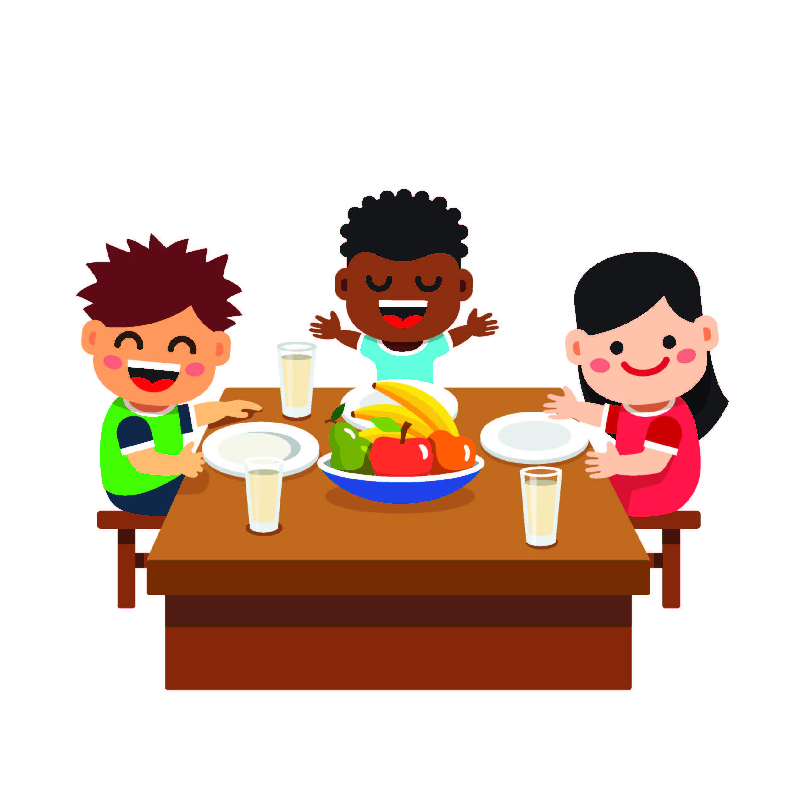 illustration of kids eating healthy food at a table
