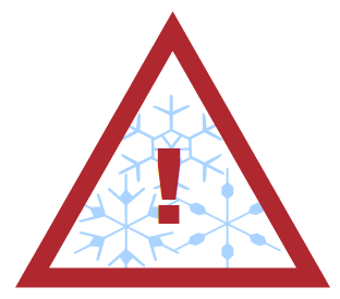 alert graphic with snowflakes