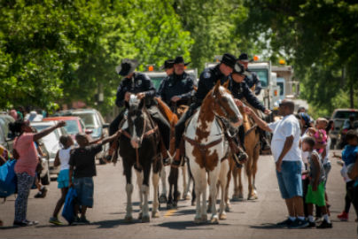 officers on horses at a parade