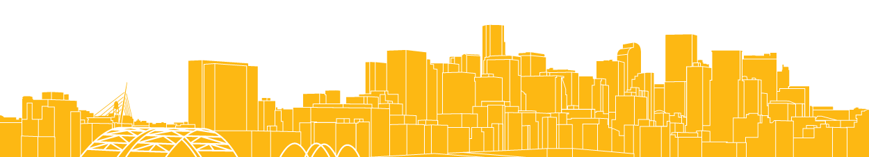 city skyline image colored in yellow
