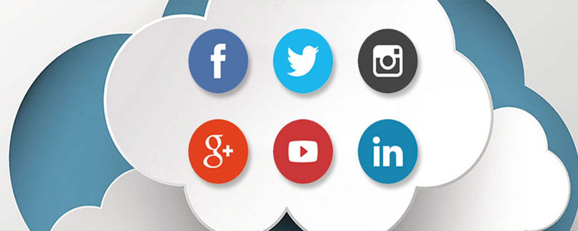 social media icons in cloud
