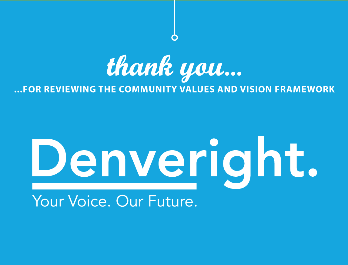 Graphic: Thank you for reviewing the community values and vision framework. So, what did you think? Share your voice below