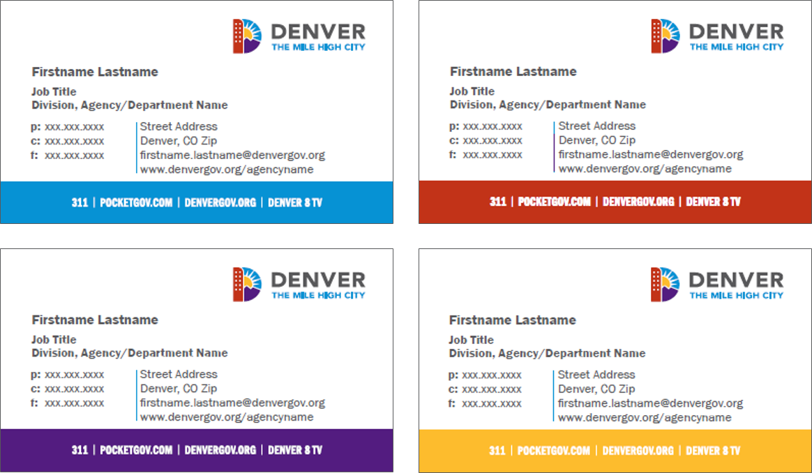 Image of branded business cards in brand colors