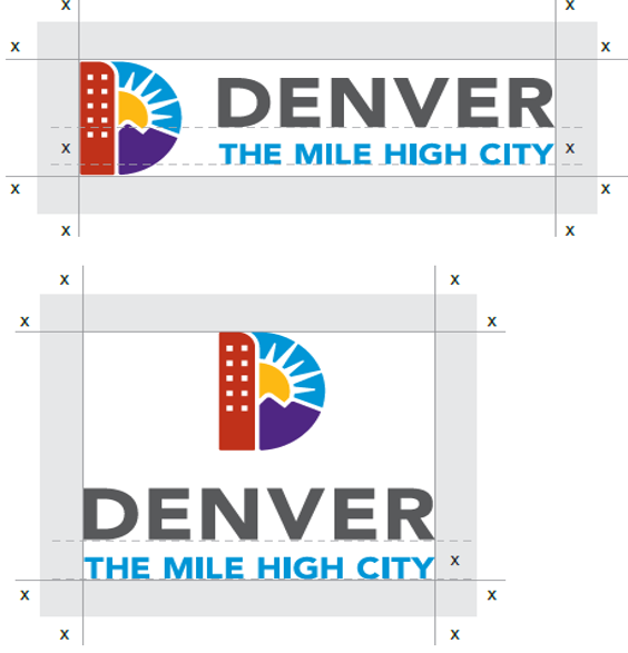 Image of Denver Logo showing clear zones around logo