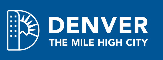 White Denver Logo reverse on color background image