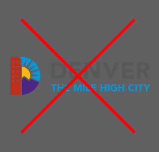 Full Color Denver Logo image on gray background with bad contrast
