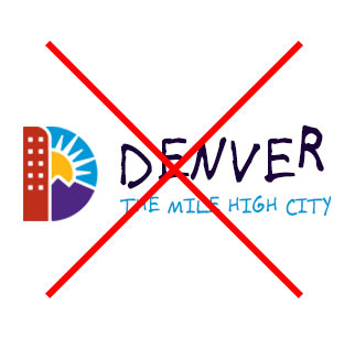 Denver Logo with incorrect alternate font applied next to the Denver D logo