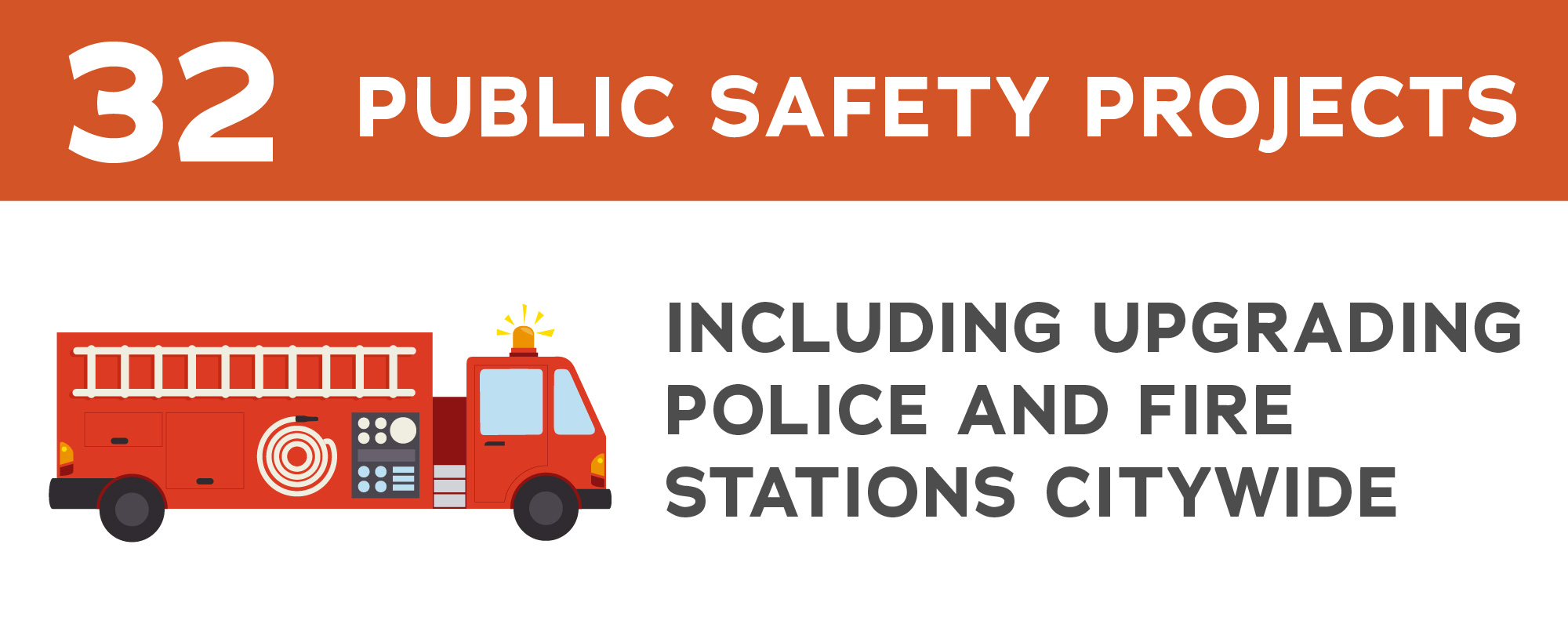 fire engine graphic with information about public safety projects