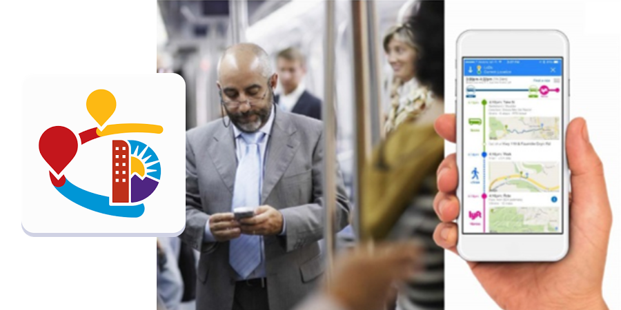 photo of go denver app being used by man on transit