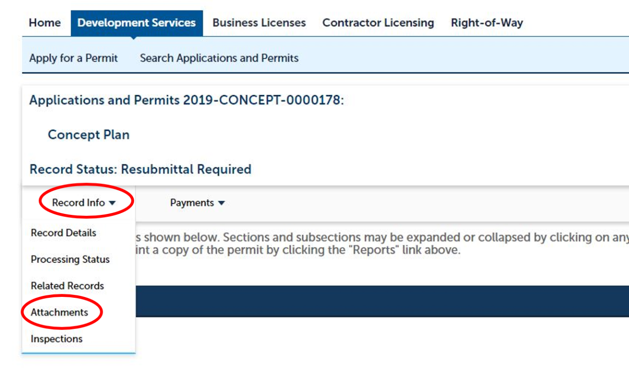 e-permits screenshot instructions for Site Development Plan Review resubmittals