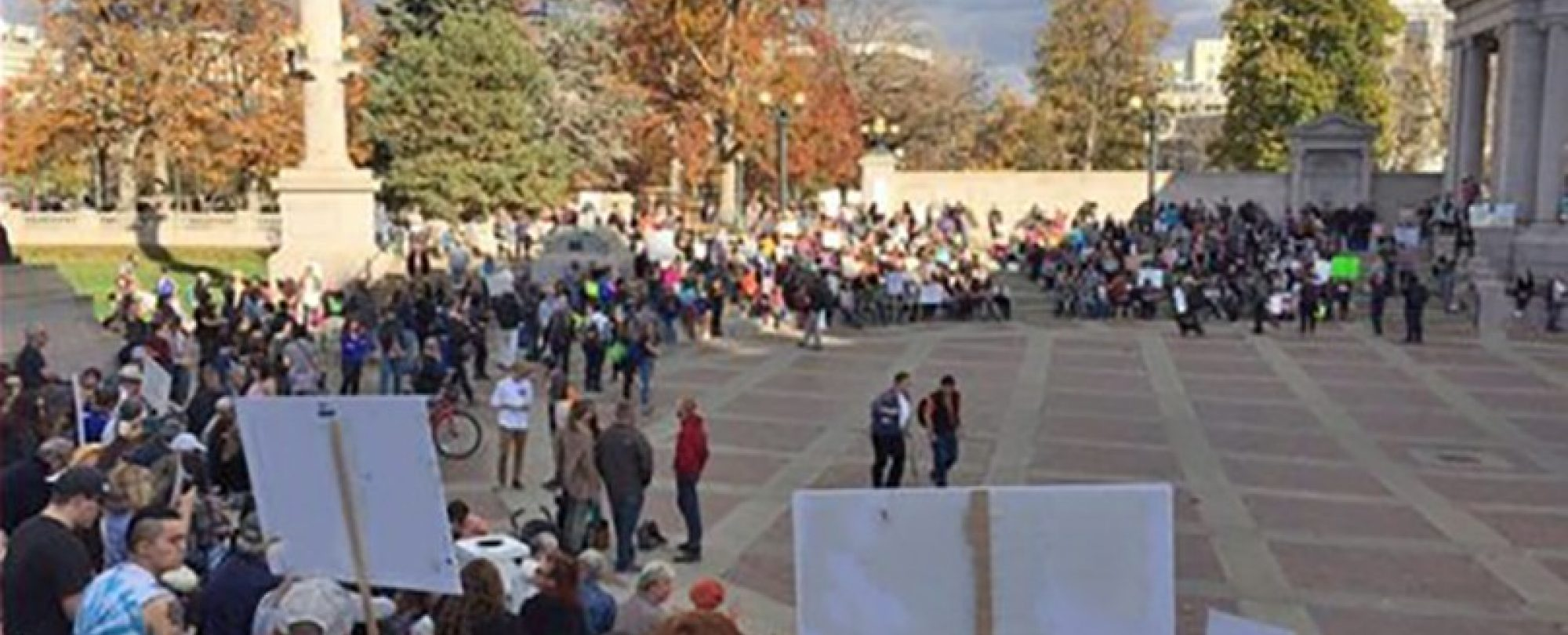 Image of many people gathering in civic center park