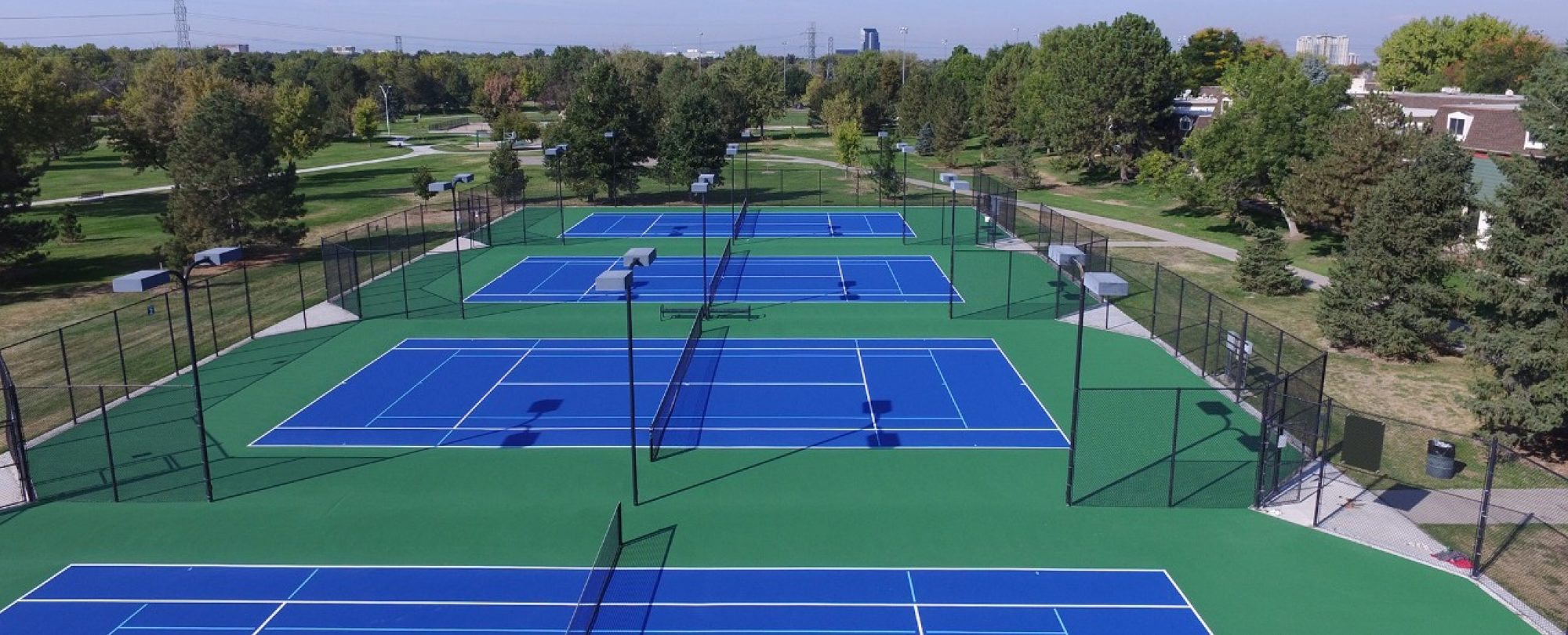 aerial shot of tennis courts