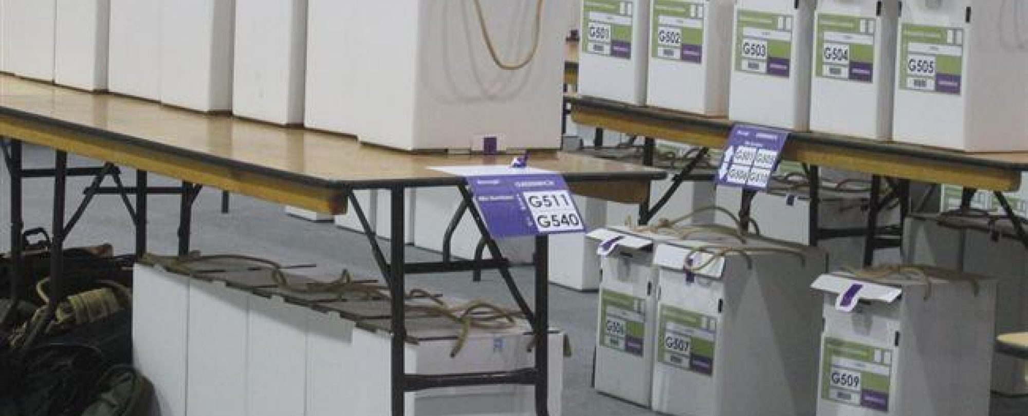 Photo of Election boxes waiting to be tallied.
