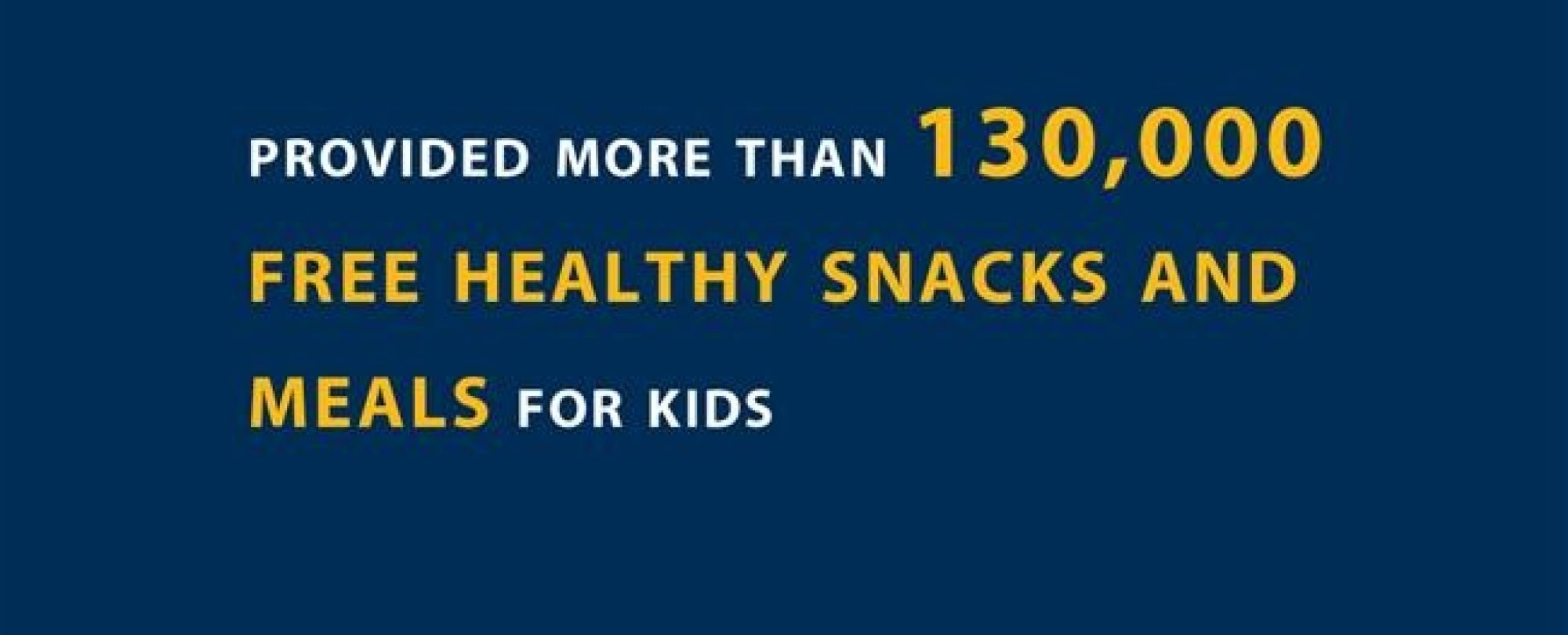 Provided more than 130,000 free healthy snacks and meals for kids.