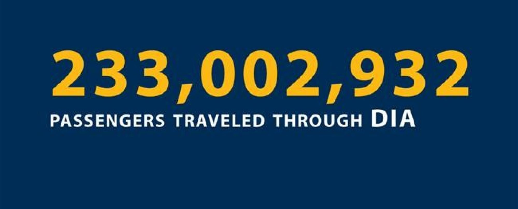 233,002,932 passengers traveled through DIA