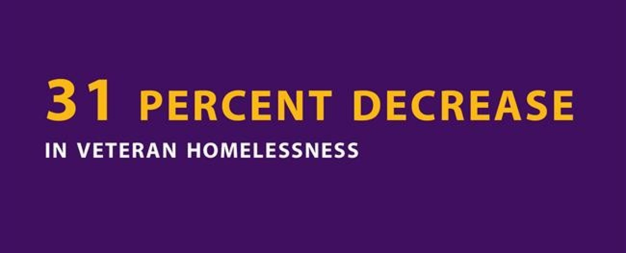 31 percent decrease in veteran homelessness.
