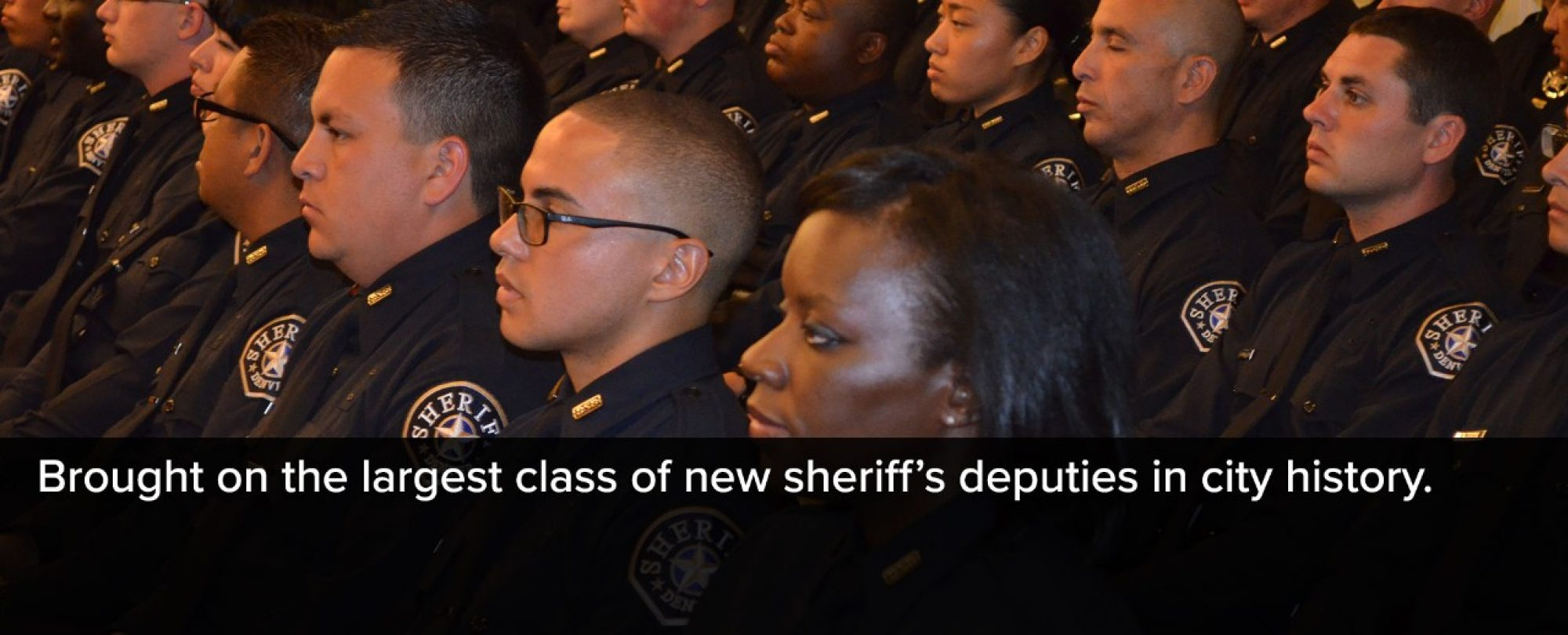 Photo of Denver Sheriff Recruits during the recruitment ceremony. 2016 brought on the largest class of new sheriff's deputies in city history.