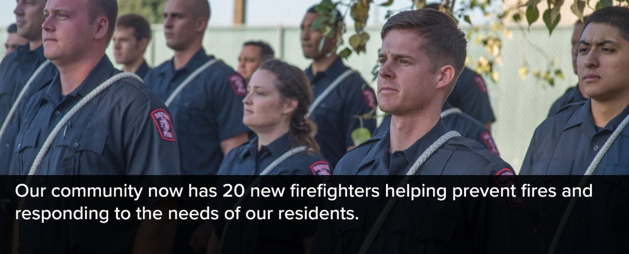 Photo of new Denver Fire Department recruits. Our community now has 20 new firefighters helping prevent fires and responding to the needs of our residents.