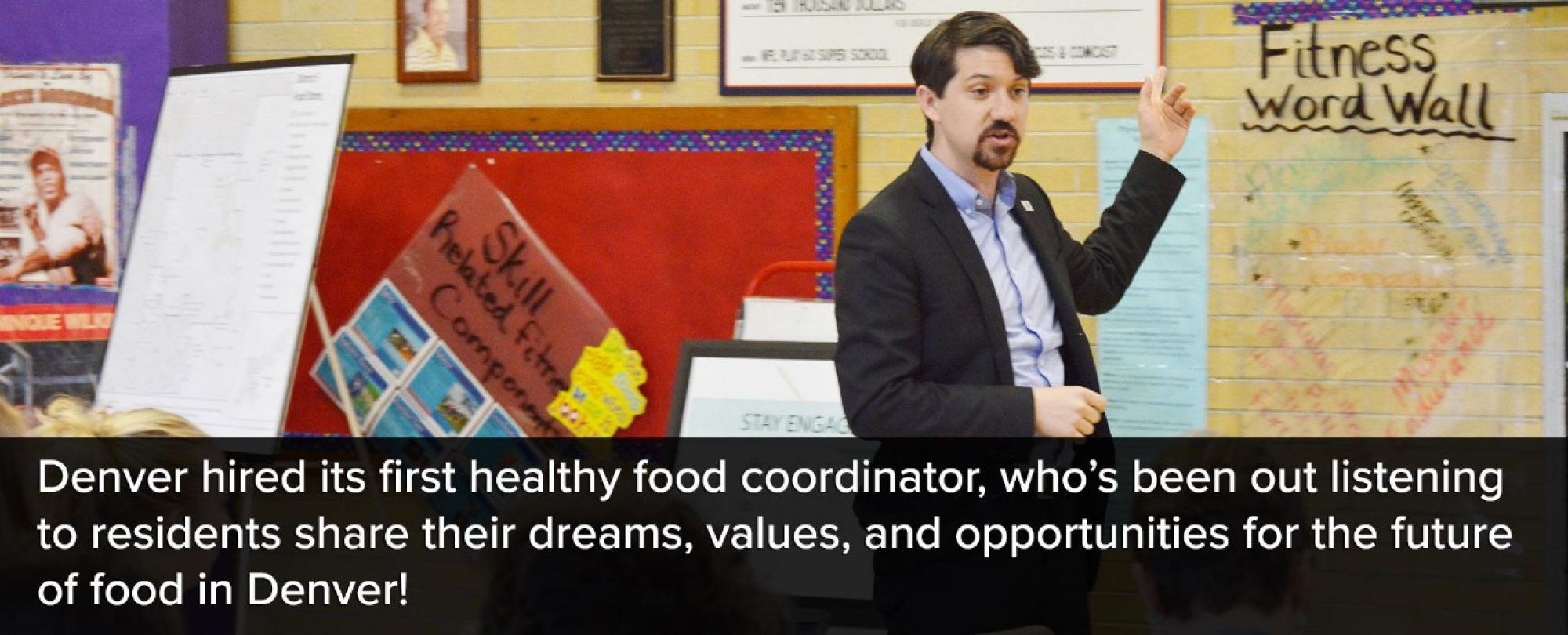 Photo of Denver's new healthy food coordinator. Denver hired its first healthy food coorsinator, who's been out listening to residents share their dreams, values, and opportunities for the future of food in Denver.