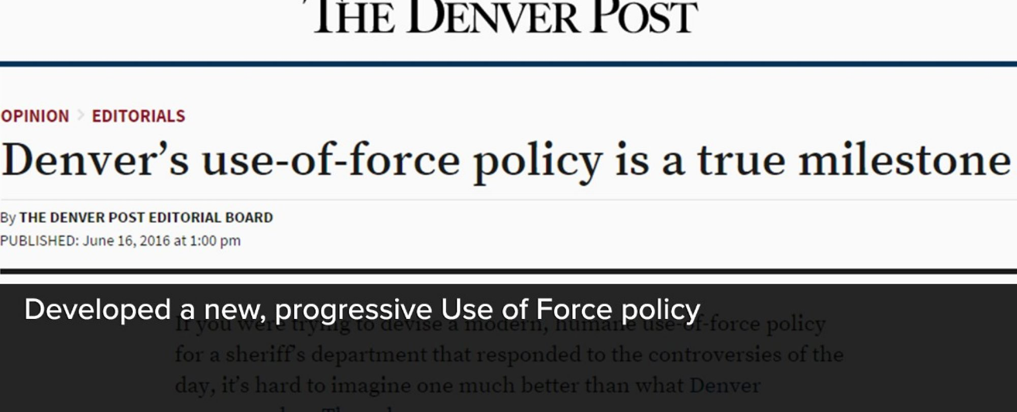 Digital snapshot of a Denver Post article highlighting the development of a new, progressive 'Use of Force' policy