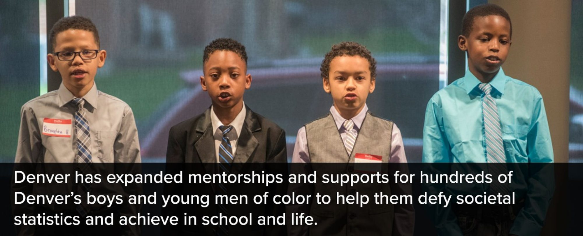 Photo of young men together for the My Brother's Keeper program. Denver has expanded mentorships and support for hundreds of Denver's boys and young men of color to help them defy societal statistics and achieve in school and life