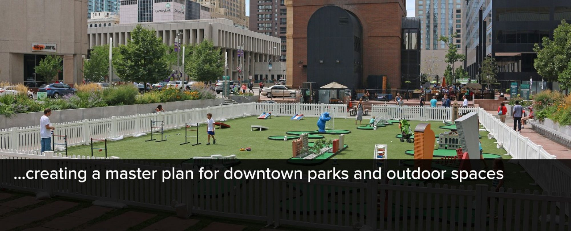 Photo of Skyline Park put-put golf. Denver is creating a master plan for downtown parks and outdoor spaces