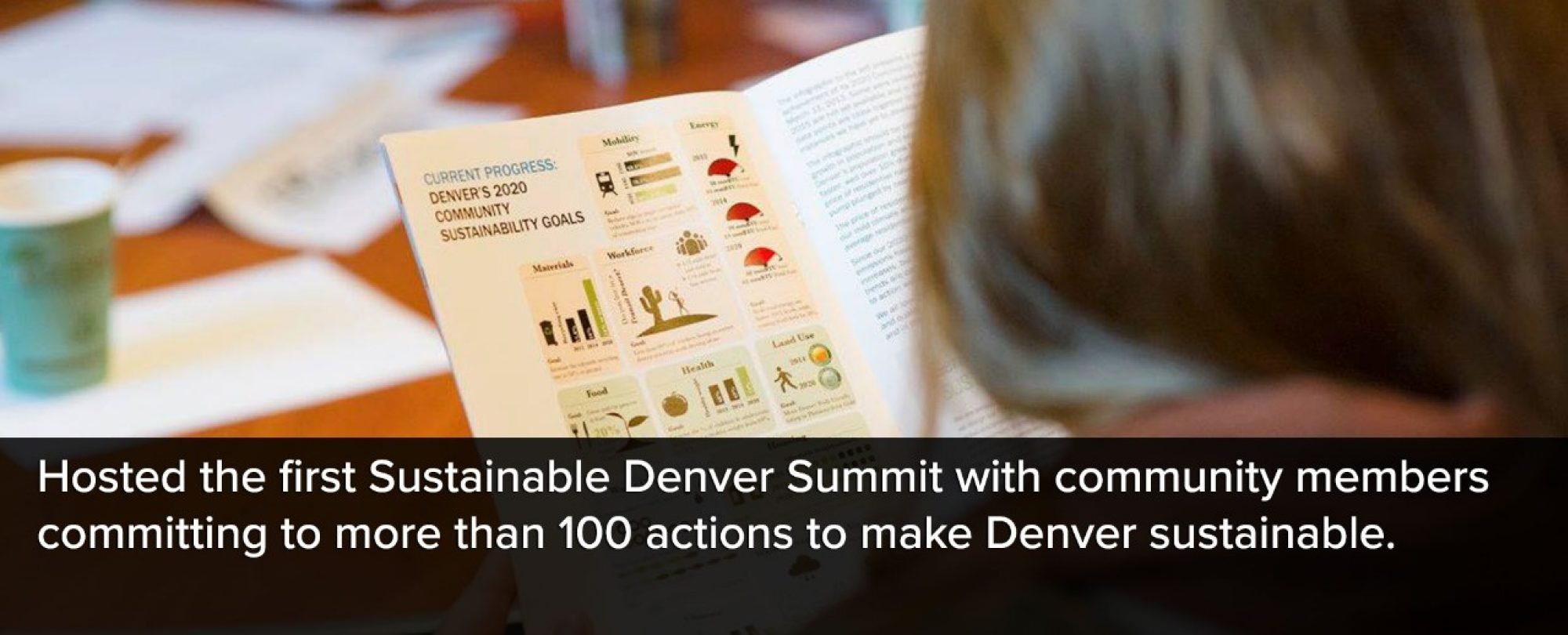 Photo of someone holding a Sustainable Denver Summit brochure. Denver hosted the first Sustainable Denver Summit with community members committing to more than 100 actions to make Denver sustainable.