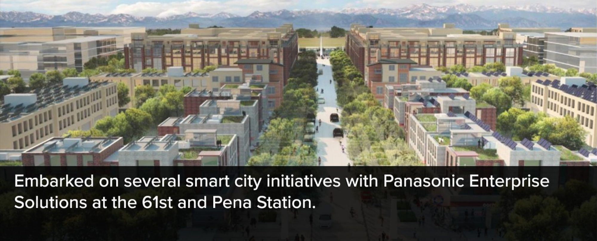 Graphic rendering of 61st and Pena Station for several smart city initiatives with Panasonic Enterprise Solutions