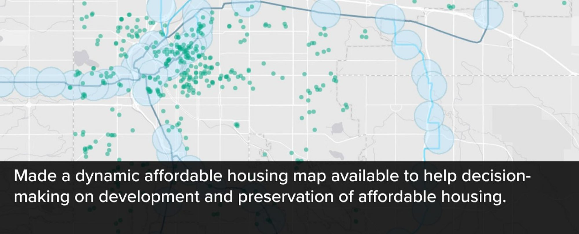 Image of the affordable housing map. The city made a dynamic affordable housing map available to help decision-making on development and preservation of affordable housing.