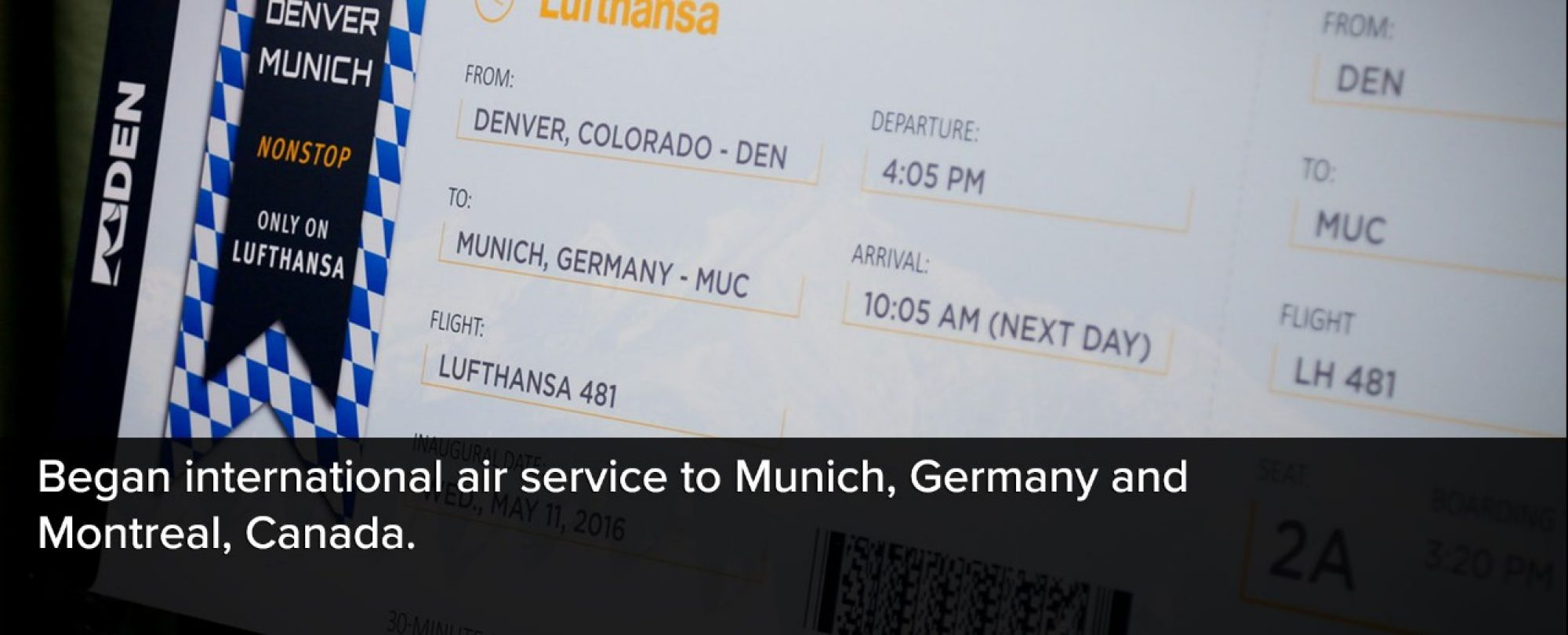 Photo of the Lufthansa booking screen showing a Denver to Munich, Germany travel itinerary. Denver International Airport began international air service to Munich, Germany and Montreal, Canada.
