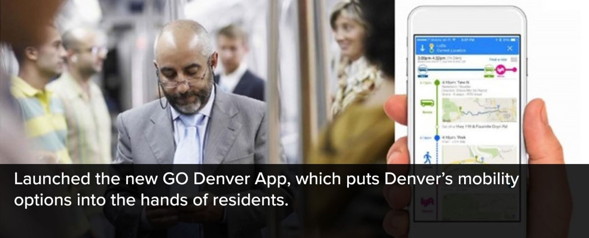 Photo advertisement for the GODenver app. Denver launched the new GODenver App, which puts Denver's mobility options into the hands of residents.