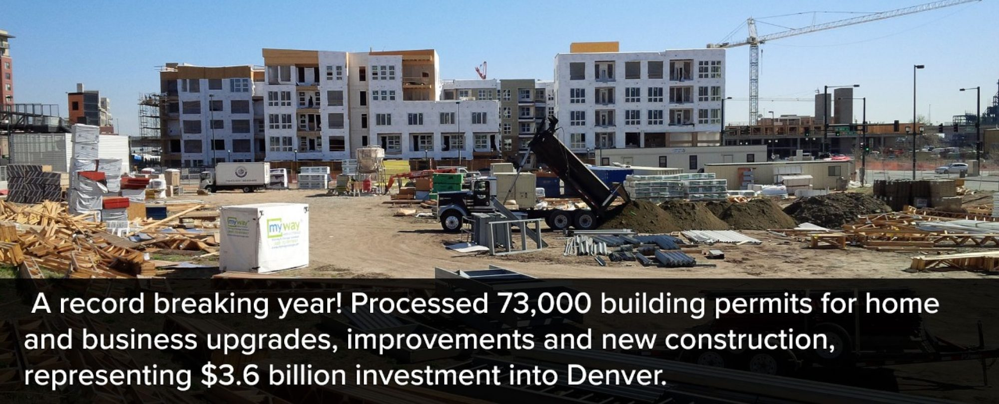 Photo of multi-family construction site. Denver had a record breaking year! The City processed 73,000 building permits for home and business upgrades, improvements, and new construction, representing a $3.6 billion investment into Denver.