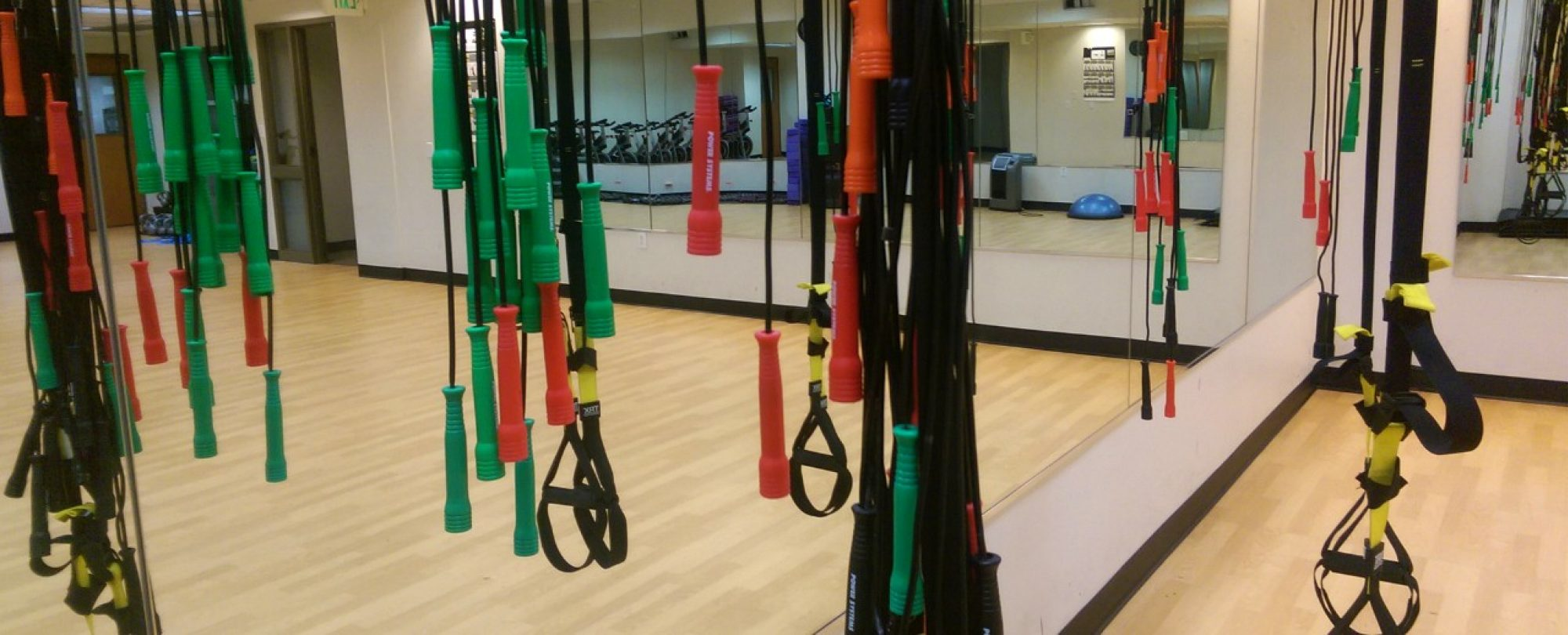 photo of jump ropes hanging in gym