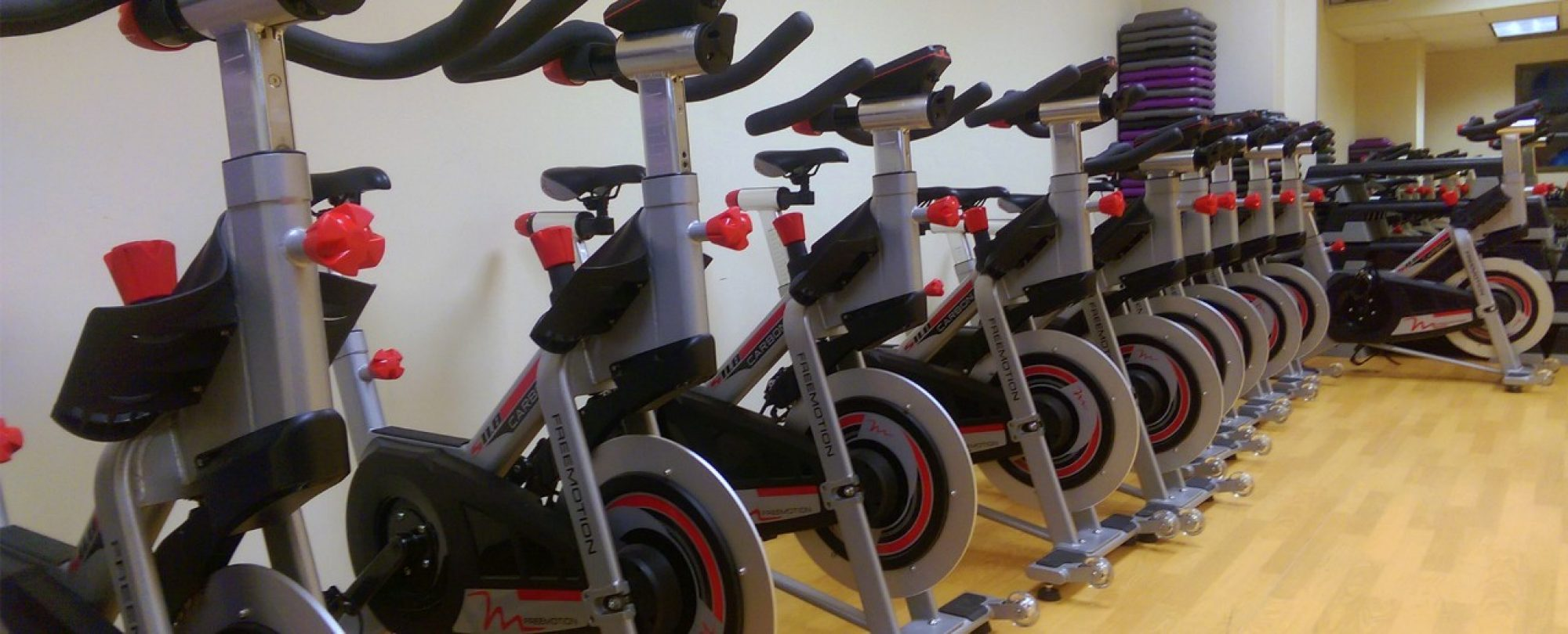 Photo of row of exercise bikes