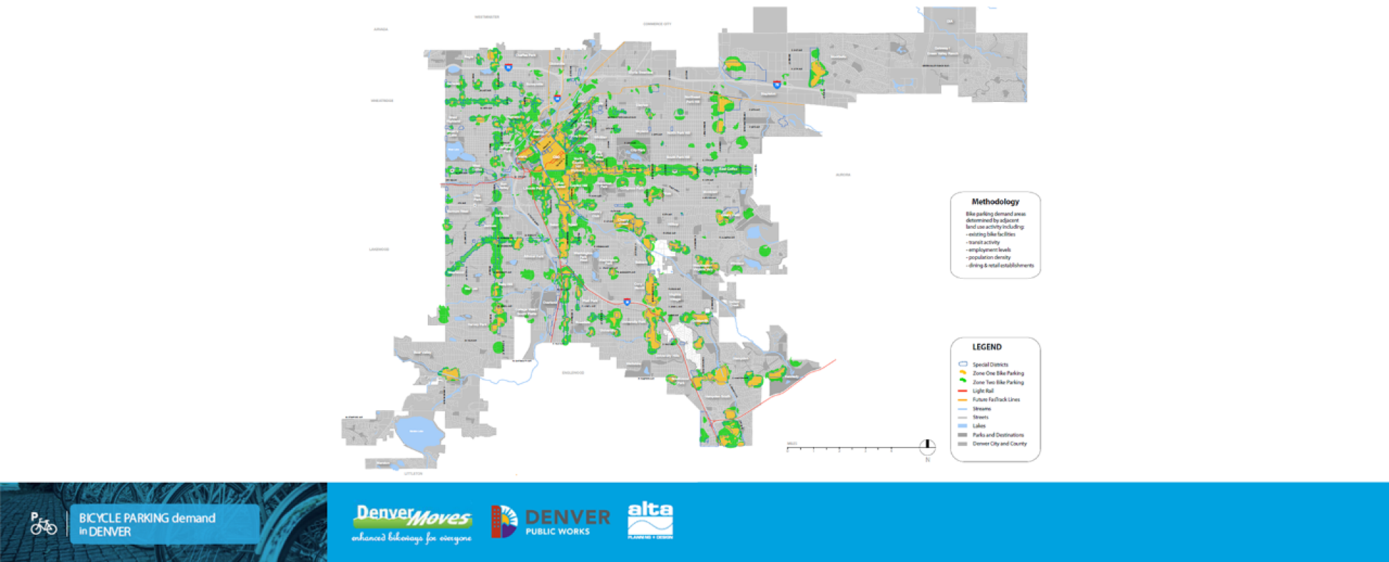map of bicycle parking demand in denver county