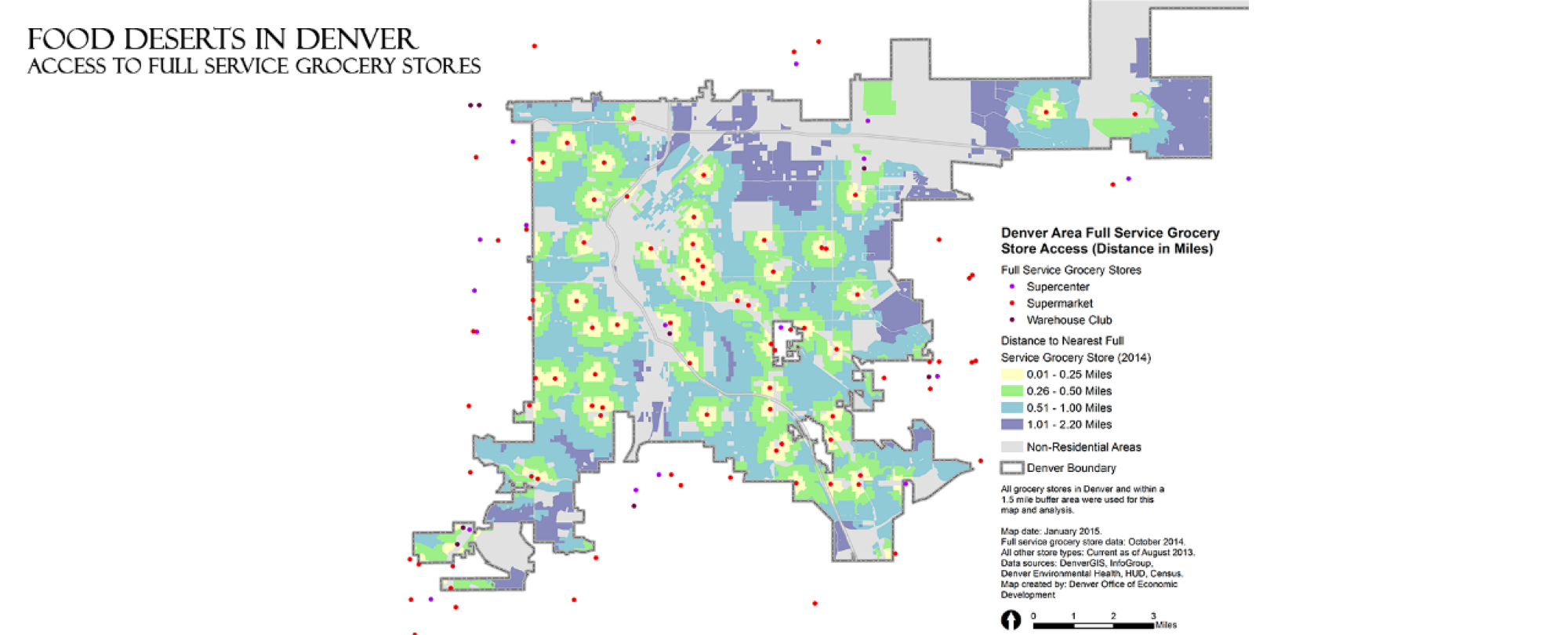 map of access to full service grocery stores in Denver county