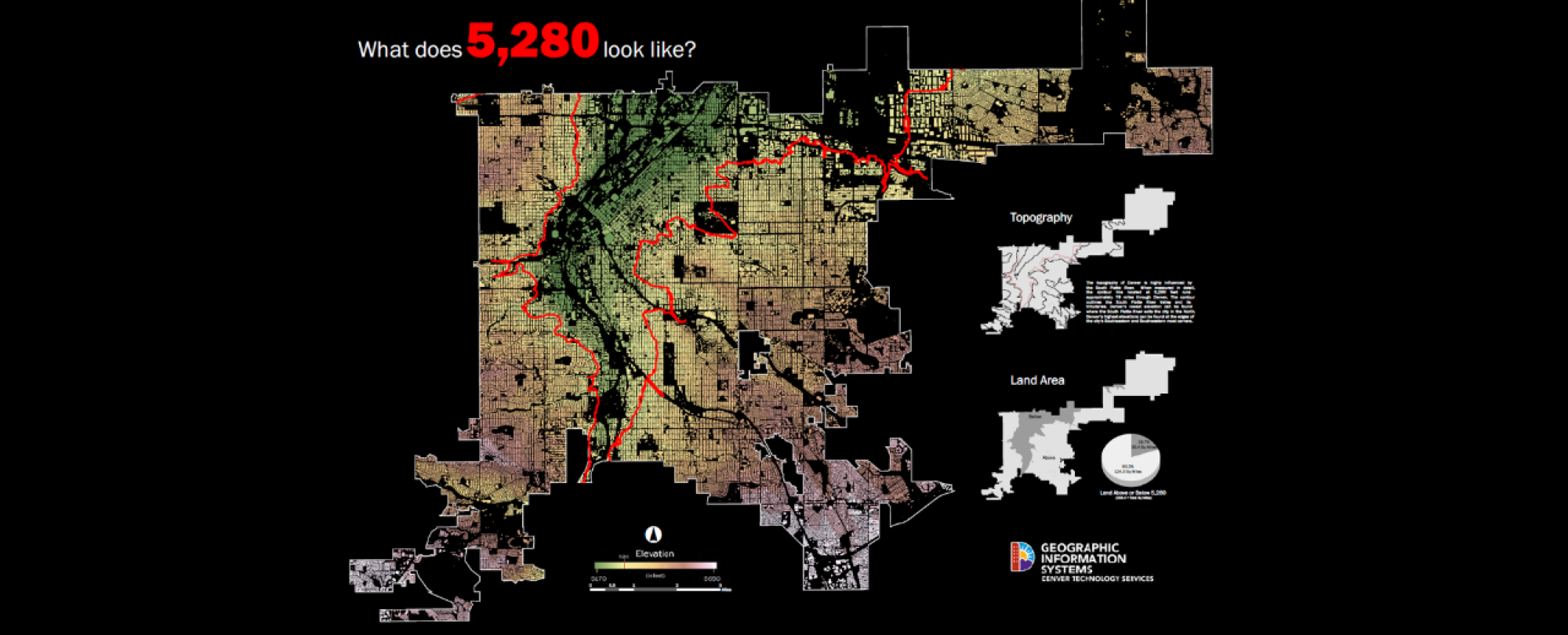 image of elevation map of Denver County