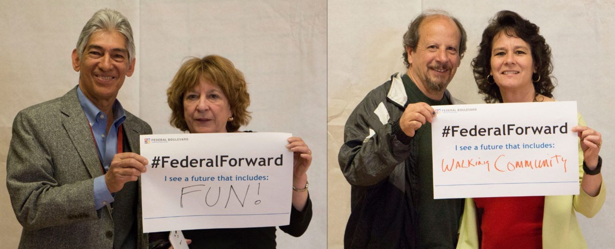 two couples holding #FederalForward signs: