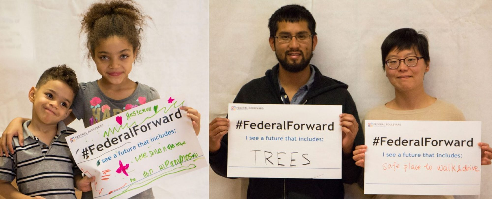 kids holding FederalForward sign; couple with signs for