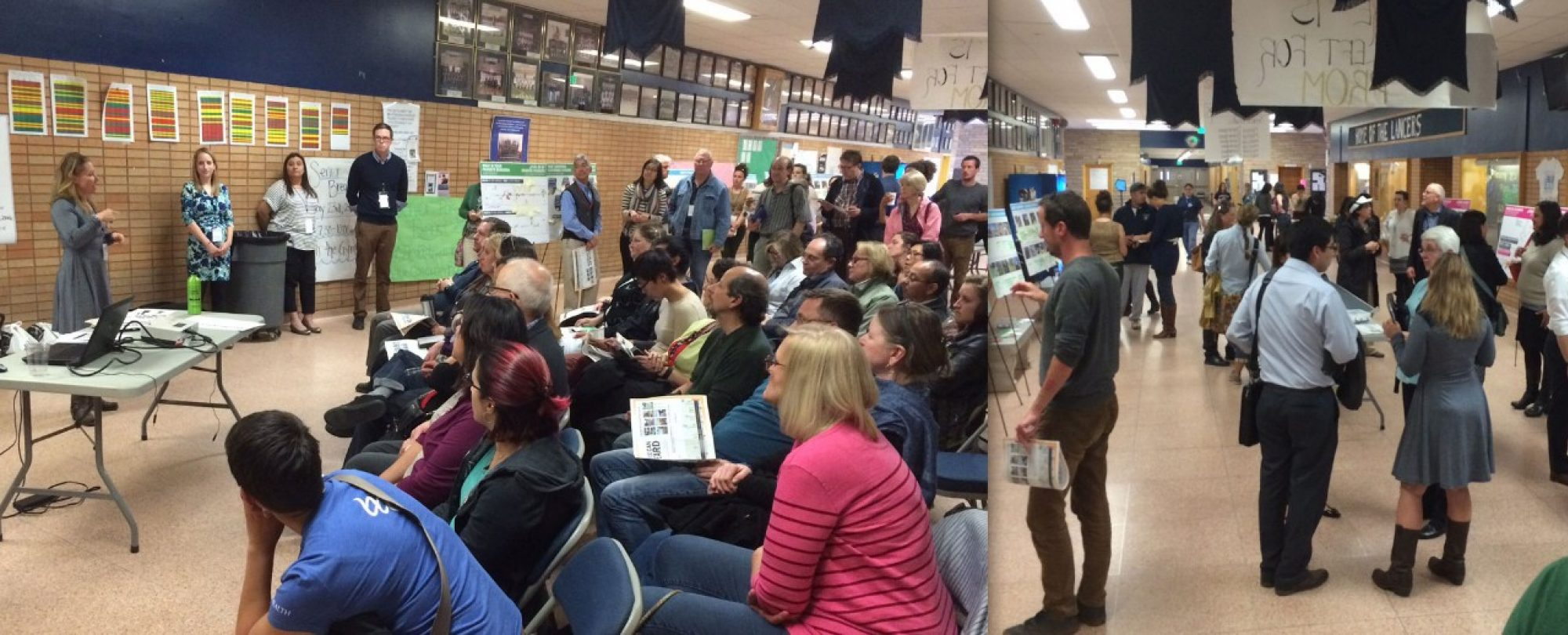groups of residents at public meeting at Lincoln High School