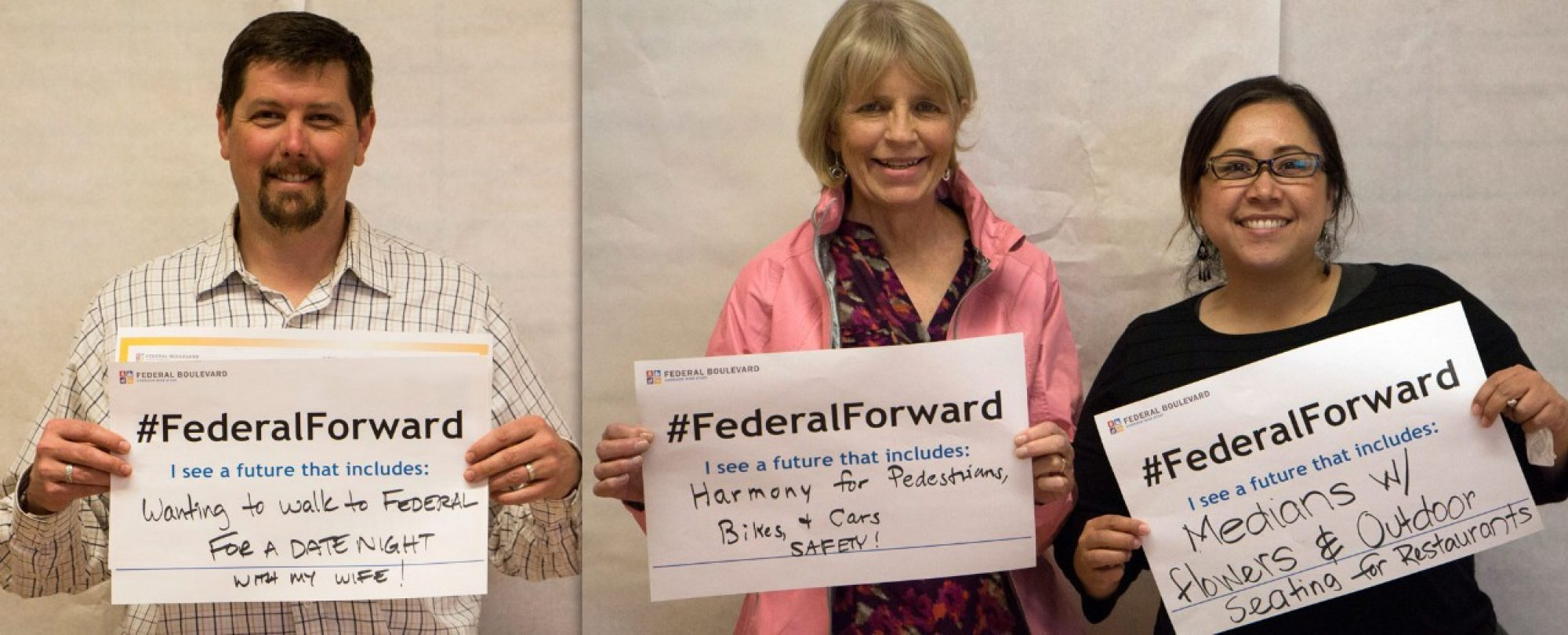 residents with #FederalForward signs: