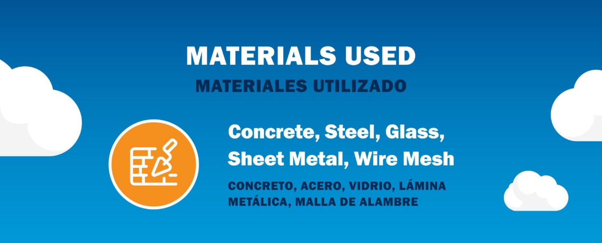 Materials used: concrete, steel, glass, sheet metal, wire mesh