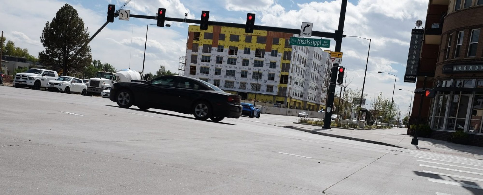 cars in rebuilt intersection at South Broadway and Mississippi