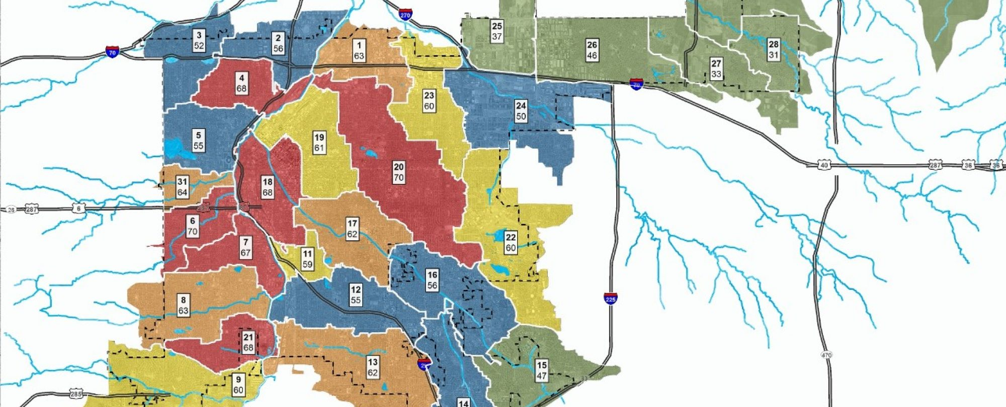 map of Denver's water quality basins