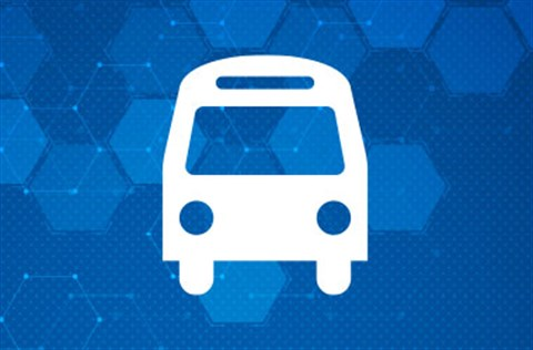 Bus icon on a blue hex-patterned background