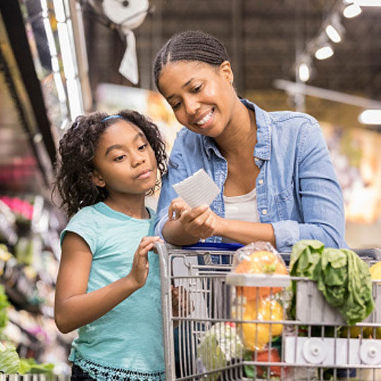 Mom and daughter shopping for food