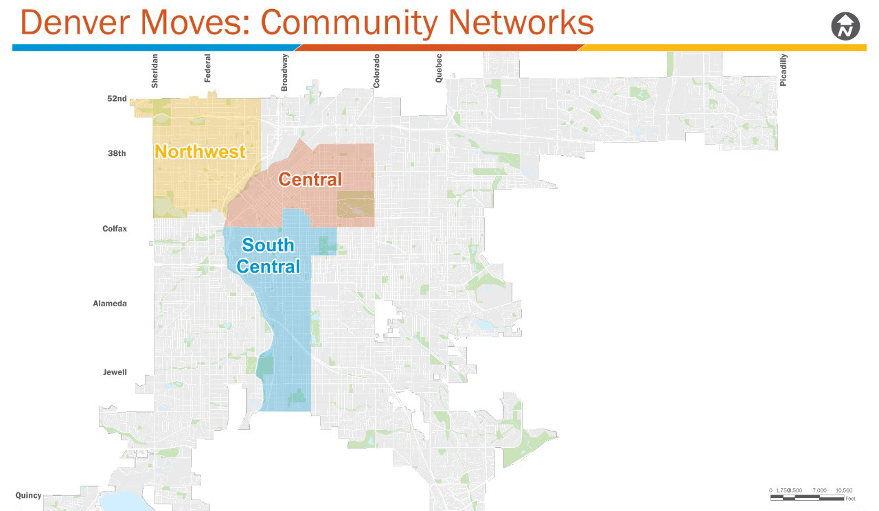 Map of Denver showing three transportation network areas in northwest, Central, and South Central neighborhoods