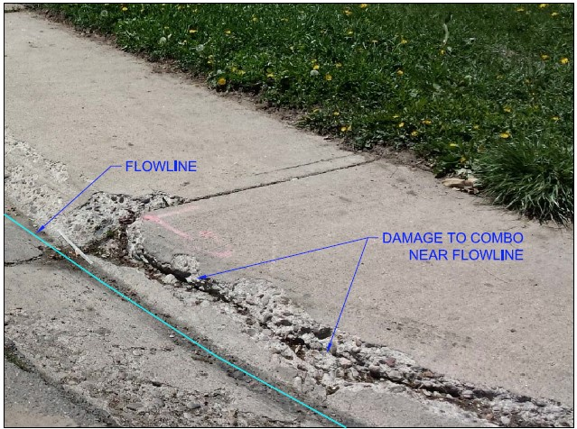 damaged and crumbling concrete curb impacting flowline