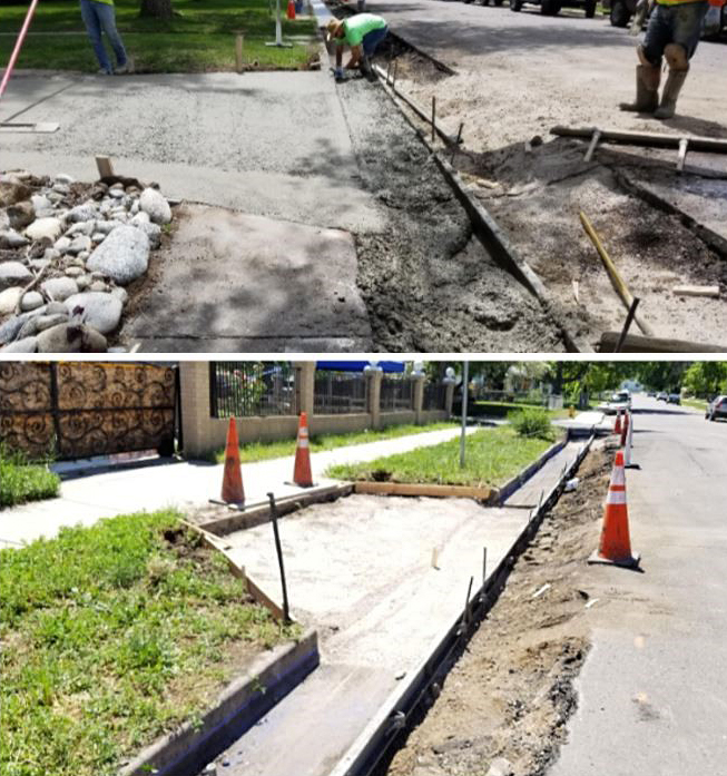 image collage showing crews removing parts of driveways adjacent to curb and gutter