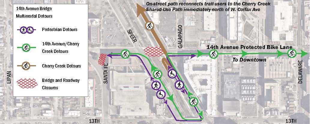 14th Avenue Bridge over Cherry Creek multimodal detours